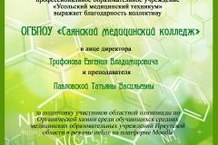 Благодарственое письмо Саянск